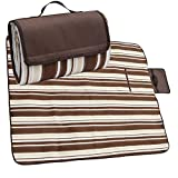APOLLO WALKER Waterproof Camping Blanket Mat Fleece Picnic Blanket Tote with Stripe,Suitable for Outdoor Travel, Barbecue, Camping Life.(80x60-Inch)(Brown)