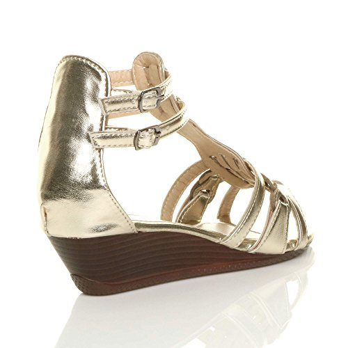 Oro Womens Strappy T Mid bar Taglia Low Ladies Sandali Wedge Gladiatore Buckle qRqPr