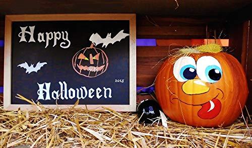 Home Comforts Peel-n-Stick Poster of Board Greeting Pumpkin