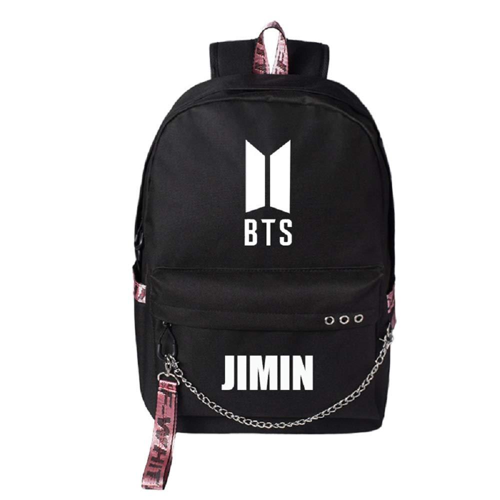 PINGJING K-Pop BTS Backpack Bangtan Boys School Bookbag Travel Shoulder Bag with USB Port (JIMIN)