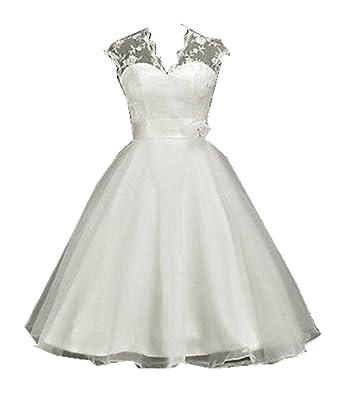 Black and White Tea Length Wedding Dresses