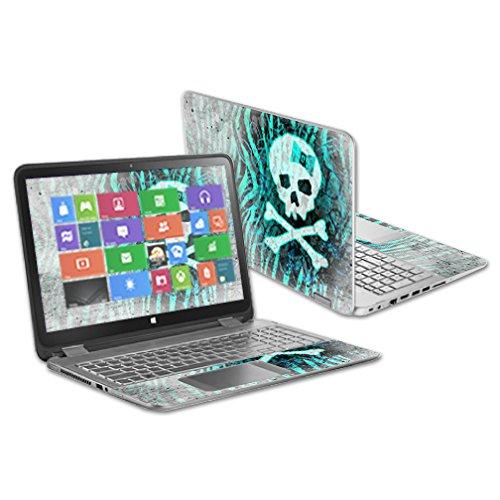 "MightySkins Protective Vinyl Skin Decal Cover for HP Envy x360 15.6"" (2014 Version) Laptop wrap cover sticker skins Zebra Skull"