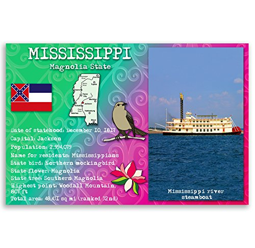 MISSISSIPPI STATE FACTS postcard set of 20 identical postcards. Post cards with MS facts and state symbols. Made in USA.