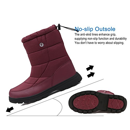 Fur Calf Women's with Red Snow Waterproof YIRUIYA Boots Boots Mid Lining nx8wPpw1qZ