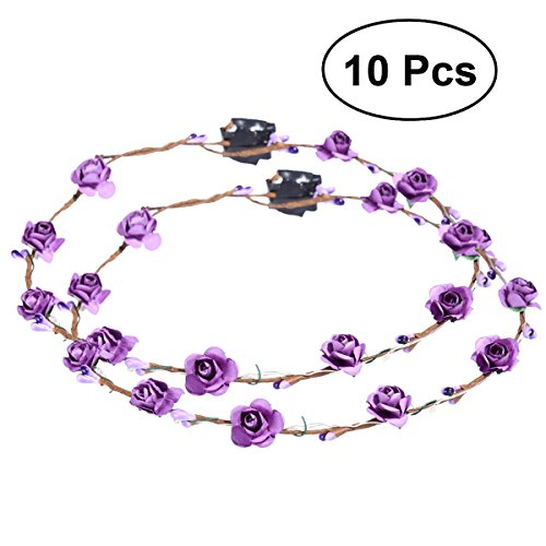 Frcolor 10pcs LED Flower Wreath Headband Crown Floral Wreath Garland Headbands for Festival Wedding Party]()