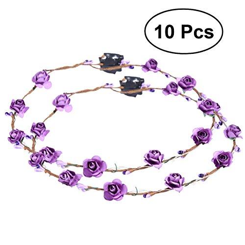 Frcolor 10pcs LED Flower Wreath Headband Crown Floral Wreath Garland Headbands for Festival Wedding Party