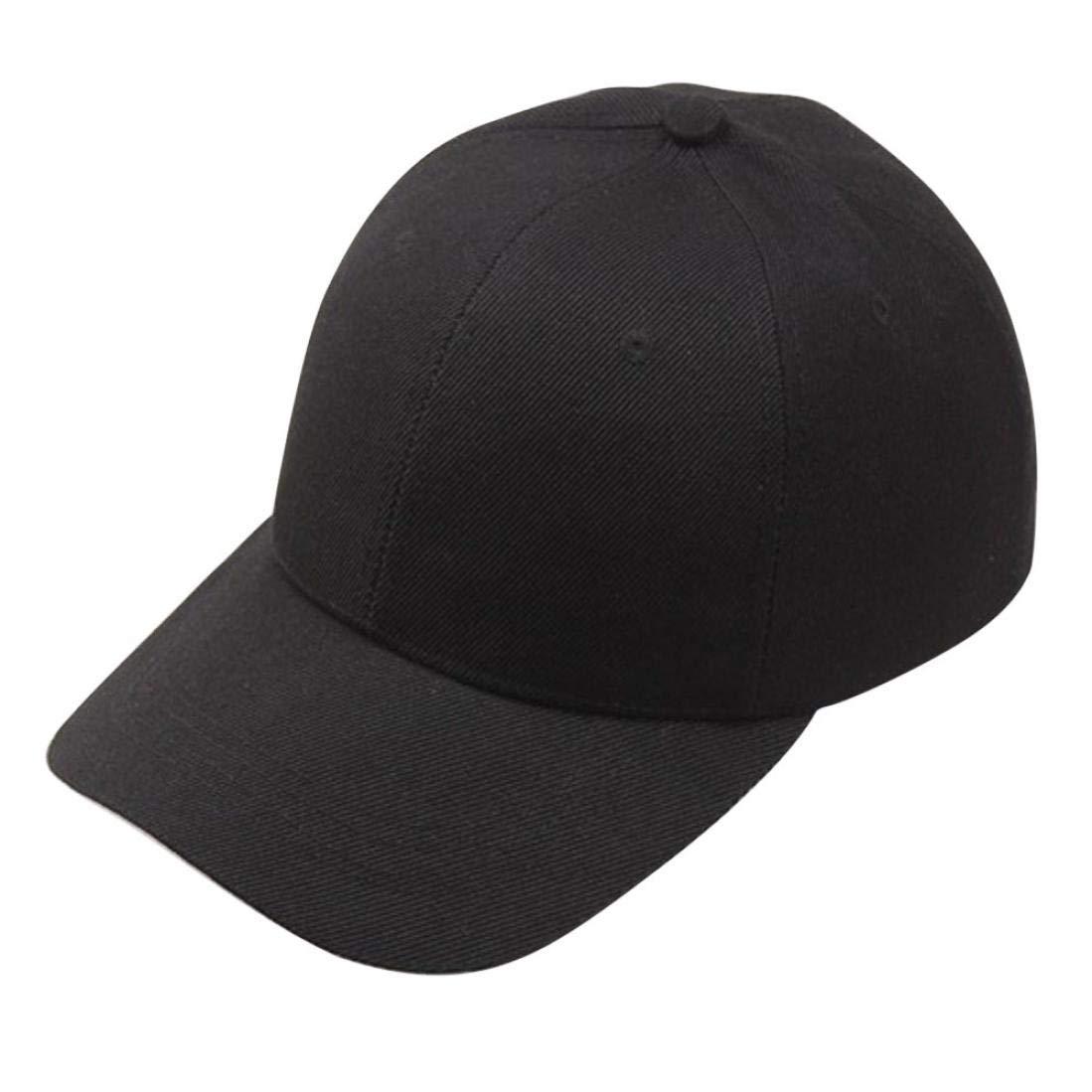 Men Women Couple Simple Solid Baseball Cap Snapback Hat Strapback Cap Peaked Hat (Black, Adjustable)