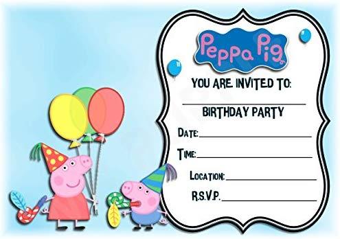 Peppa Pig cumpleaños fiesta invita a - diseño de paisaje ...