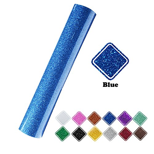 "VINYL FROG 9.8x60""(0.8x5ft) PU Blue Glitter Heat Transfer Vinyl for T-Shirt Clothing by VINYL FROG"