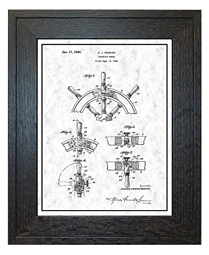 Boat's Steering Wheel Patent Art Gunmetal Print with a Border in a Rustic Oak Wood Frame (11