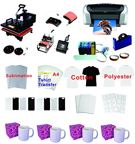 5in1 Professional Sublimation Heat Transfer Machine Epson Printer C88 CISS KIT by TRANSFER WORLD