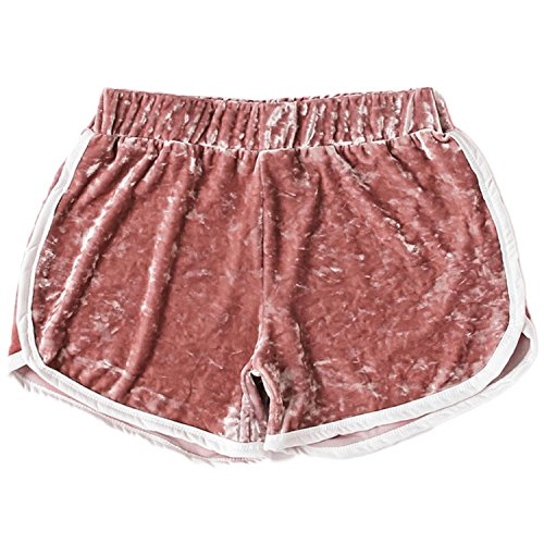 er Hot Pants Velvet Contrast Trim Elastic Waist Shorts Sports Yoga (Medium, Pink) ()