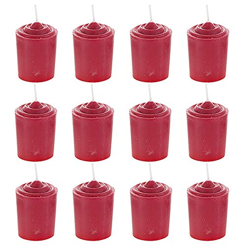 Mega Candles 12 pcs Unscented Red Votive Candle | Hand Poured Wax Candles 15 Hours 1.5