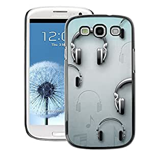 A-type Arte & diseño plástico duro Fundas Cover Cubre Hard Case Cover para Samsung Galaxy S3 (Music Grey Dj Sound)