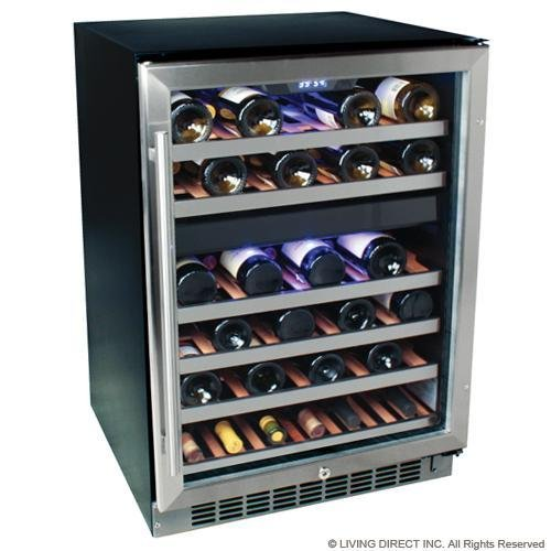 EdgeStar 46 Bottle Built-In Dual Zone Wine Cooler - Stainless Steel
