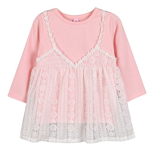 Girl Pullover Lace Clothes Sleeve Long Round Pink Weixinbuy Baby Princess Toddler s Dresses Neck 0Yxqfgf1Ew
