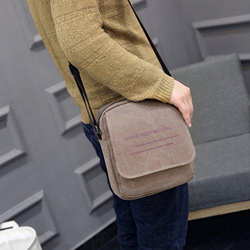 Super moderno de hombre Casual lienzo Flapover Cross Body Bag bolso bandolera Organizador Bolso bandolera bolsa Mini bandolera multibolsillos hombro bolsa, hombre, caqui marrón