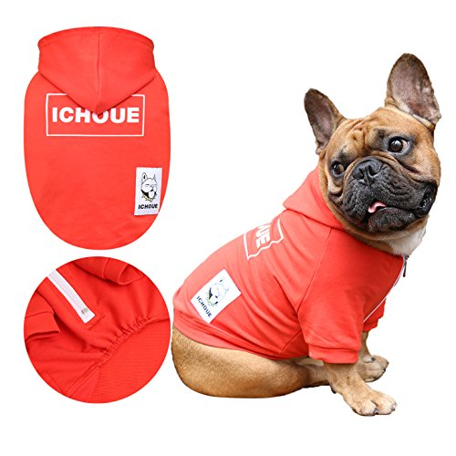 iChoue Dog Hoodie Clothes Half Zipper Sweatshirt Frenchie Pug Boston Terrier Shiba Inu Box Logo Shirt – Red Size L Review