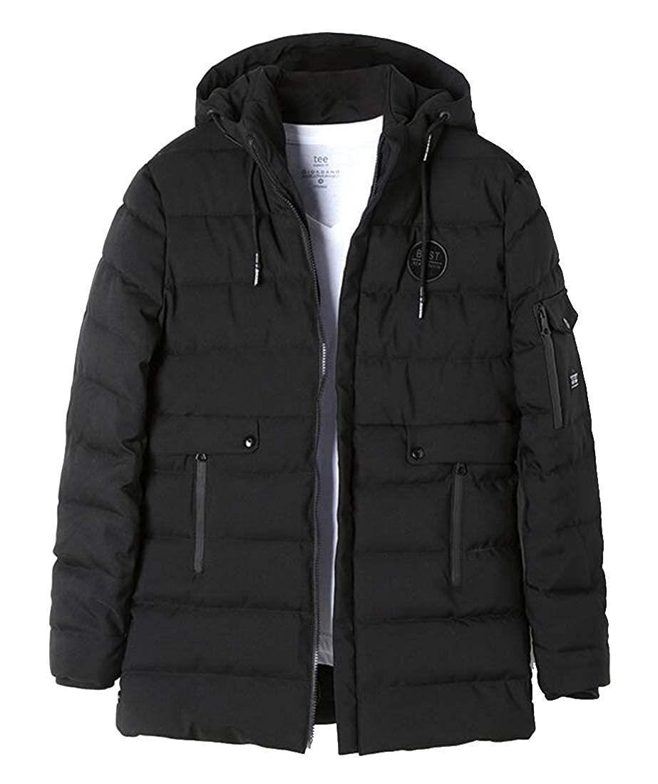 Jofemuho Mens Zip Front Thickened Loose Winter Hooded Down Quilted Coat Jacket Outerwear