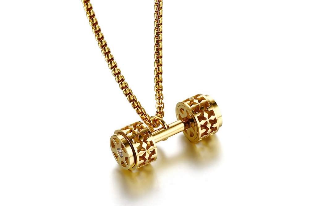 Titanium Steel Necklace Men and Women Simple Punk Fashion Body Dumbbell Pendant Hollowed Out Trend Gift Creative Personality Vintage Pop Golden