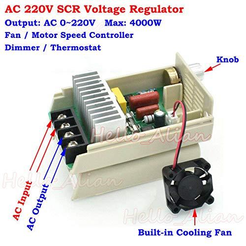FidgetKute 4000W AC 220V SCR Voltage Regulator Speed Controller Adjust Dimmers Thermostat