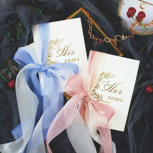AKITSUMA Wedding Vow Books, His and Her Vow Keepsake with Ribbon Bow Knot, Set of 2 (Vow Books with - Groom Her