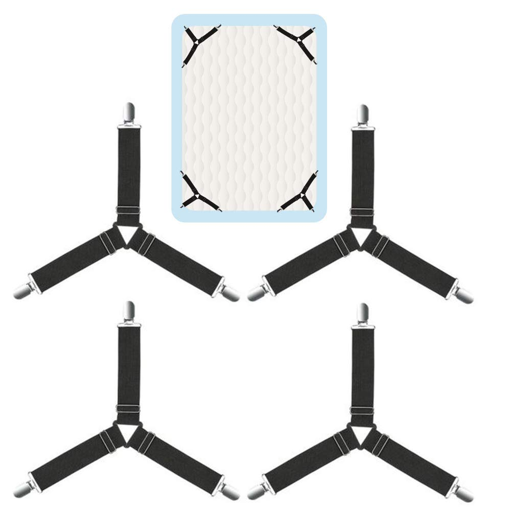 Tablecloth Sofa Cushion 4Pcs Bed Sheet Holder Straps Adjustable Triangle Fasteners Elastic Suspenders Grippers Anti-Slip Clips Fitted Mattress Cover Black 2