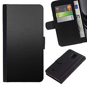 Protector de cuero de la PU de la cubierta del estilo de la carpeta del tirón BY RAYDREAMMM - Samsung Galaxy Note 4 IV - Patrón Gris Tela