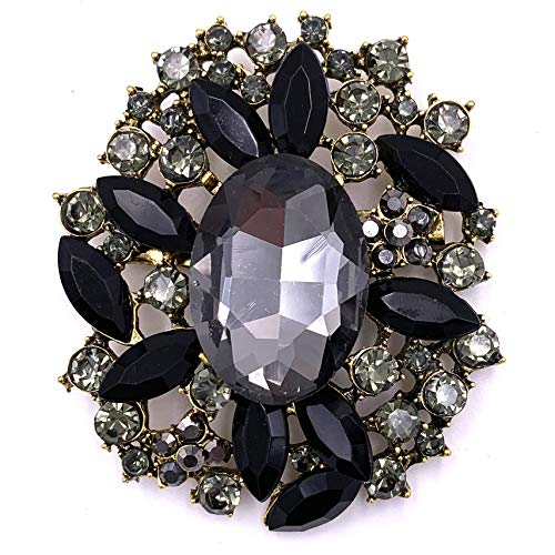 HAISWET Black Flower Brooch Pin Costume Jewelry Accessory Retro Gold Tone