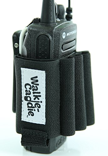Walkie Caddie (White) - Accessory Pouch for Walkie Talkies | for Motorola CP 200 and most other Walkie Talkies | Black with White Bungee by Popp Sound