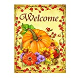 Wamika Pumpkin Sunflower Autumn Welcome Fall Double Sided Garden Yard Flag 12'' x 18'', Farm Pumpkin Fall Autumn Harvest Flower Decorative Garden Flag Banner for Outdoor Home Decor Party