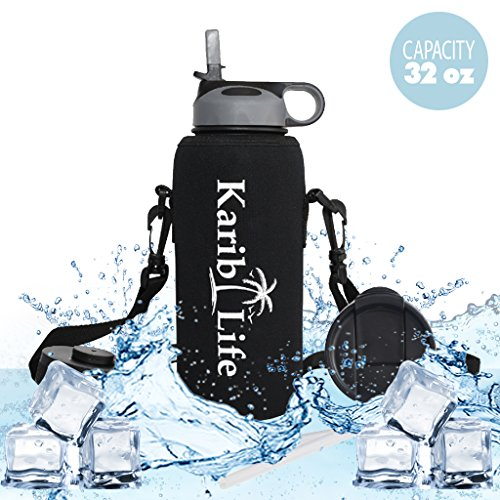 Karib Life Insulated Water Bottle , Cold 24 Hrs , Hot 12 Hrs , Stainless Steel Double Walled , Wide Mouth Thermos 32oz Capacity