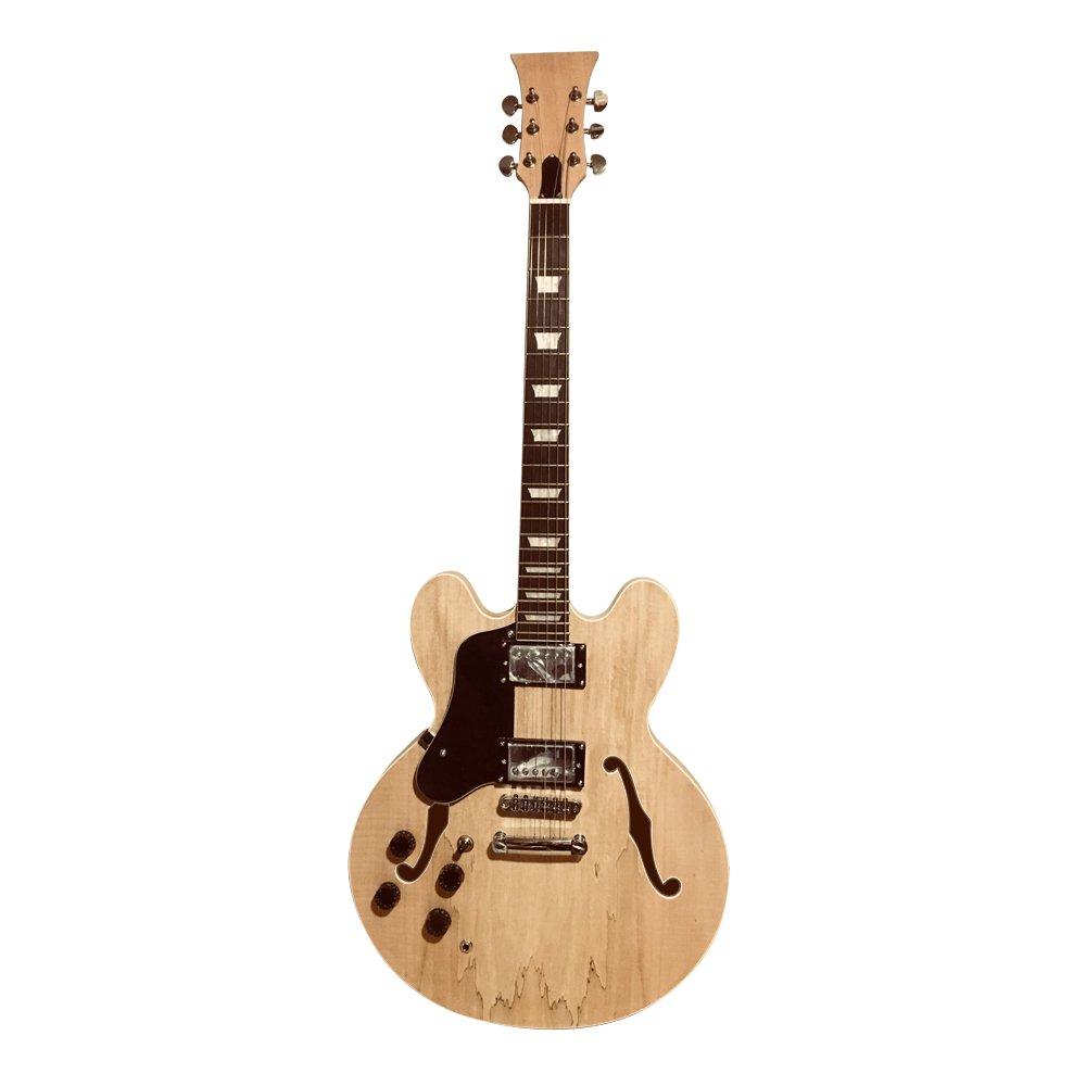 para zurdos CAOBA Semi Cuerpo Hueco Guitarra Eléctrica Kit Construcción gdes22l Para Estudiante & Luthier proyectos GRANDE guitarra MACIZO Caoba / madera de ...