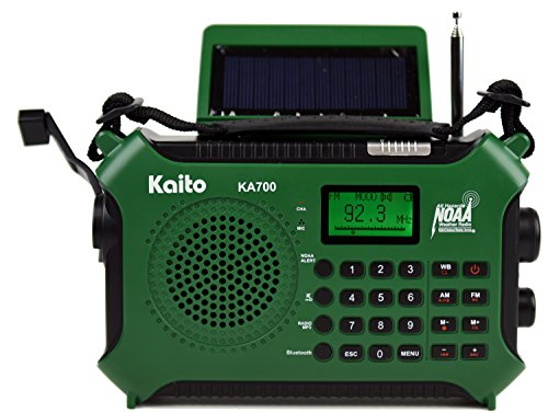 Kaito KA700 Bluetooth Emergency Hand Crank Dynamo & Solar Powered AM FM Weather NOAA Radio With Recorder and MP3 Player - Rugged Design for Hiking, Camping, Construction Sites, Etc.(Green) by Kaito