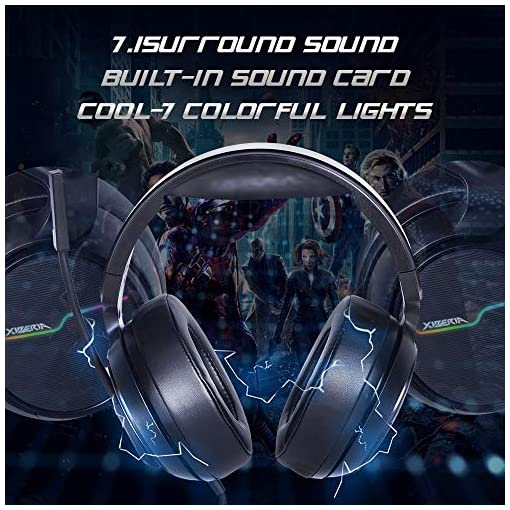 XIBERIA-V20 USB PS4 Headset for Host Connection, 7.1 Surround Sound PC Gaming Headset with 1.95 Meter Cable and Noise Cancelling Mic Headphones for Laptops, Computer,Mac and Macbook with RGB Light