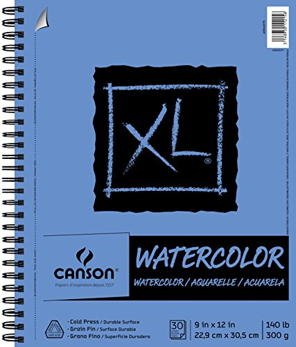 Canson XL Series Watercolor Textured Paper, Use with Paint Pencil Ink Charcoal Pastel and Acrylic, Side Wire Bound, 140 Pound, 9 x 12 Inch, 30 - 10 Notebook Series Inch