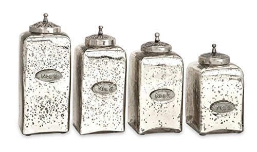 CC Home Furnishings Set of 4 Vintage Style Numbered Mercury Glass Canisters with Iron Lids