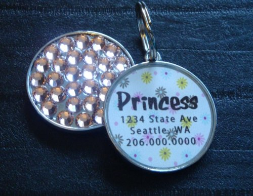 Pastel Poppy Rhinestone Pet ID Tag **YOU CHOOSE THE COLOR(S)**