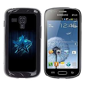 La estrella azul - Metal de aluminio y de plástico duro Caja del teléfono - Negro - Samsung Galaxy S Duos S7562
