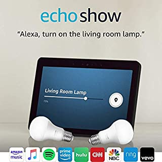 Echo Show (2nd Gen) with Philips Hue Bulbs - Alexa smart home starter kit - Charcoal