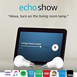 Echo Show (2nd Gen) with Philips Hue Bulbs – Alexa smart home starter kit – Charcoal