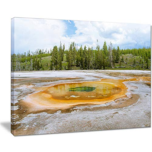 DESIGN ART Chromatic Morning Glory Pool - Landscape Photo Canvas Print - Green 12 in. Wide x 8 in. high - 1 Panel (Morning Pool Glory)
