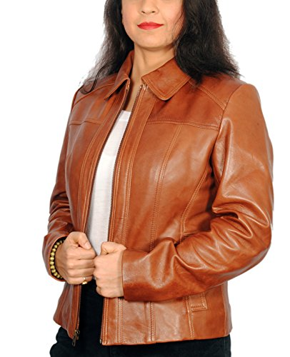 (Women's Caramel Tan Lambskin Leather Short Peacoat Jacket)