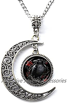 Charm Crescent Moon Raven Pendant Black Raven Necklace Bird Jewelry Bird Lover Gift Black Gray Silver Necklace