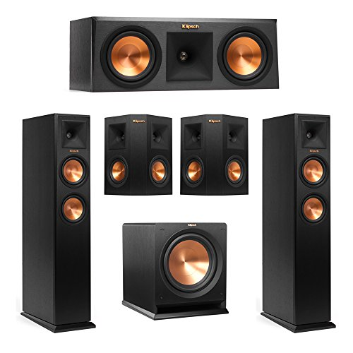 Klipsch-51-System-with-2-RP-250F-Tower-Speakers-1-RP-250C-Center-Speaker-2-Klipsch-RP-240S-Surround-Speaker-1-Klipsch-R-112SW-Subwoofer-AudioQuest-Bundle