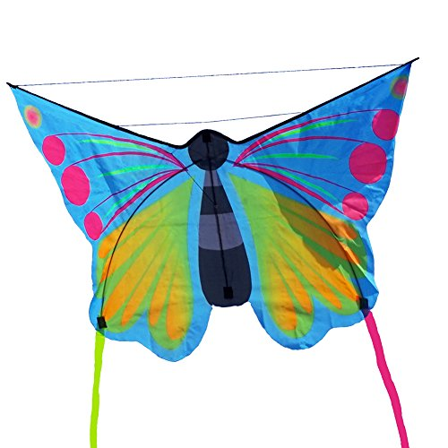 Besra Huge Colorful Butterfly Kite Single Line Easy To Fly Insect Nylon Kite With Handle & Strings (Butterfly) (Butterfly Kite Large)