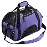 X-Sunshine Modern Pet Dogs Cats Carrier Comfort Airline Approved Travel Handbag Tote Soft Sided Shoulder Bag Up to 7 lbs 16.5'' L X 8'' W X 11.4'' H, Purple