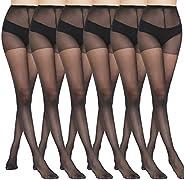 MANZI 6 Pairs Pantyhose for Women 20 Denier High Waist Sheer Tights