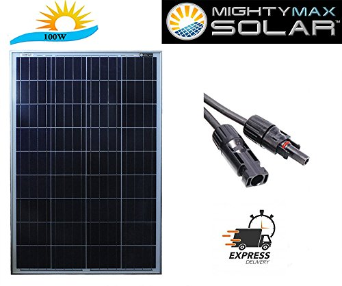 100 Watts 100W Solar Panel 12V   18V Poly Off Grid Battery Charger For Rv   Mighty Max Battery Brand Product