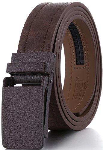 Leather Square Buckle Belt (Marino Genuine Leather belt for Men, 1.3/8
